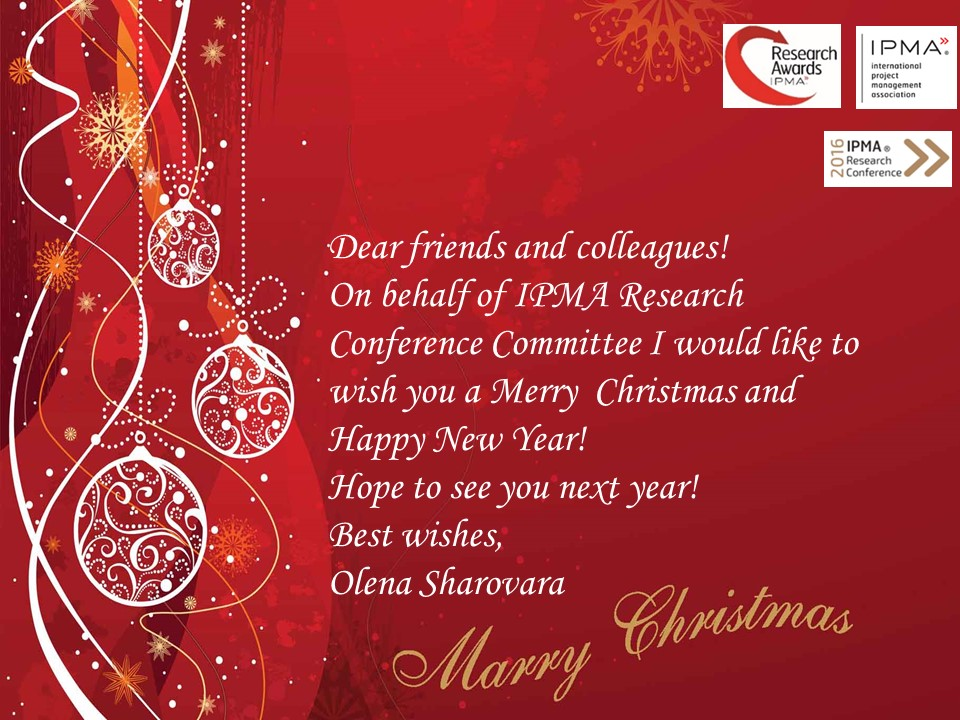 We wish you a Merry Christmas and a Happy New Year! – 6TH IPMA ...